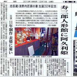 【辻村寿三郎人形館】2019.12.14中国新聞県北記事