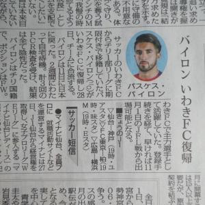 20201028(水) バスケス・バイロンいわきFC復帰、さあ難敵 Honda FC 戦だ!