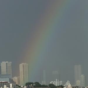 東京・目黒区・大岡山より渋谷方面・8月16日夕方近くの虹