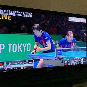 卓球ワールドカップ女子決勝をテレビ観戦。0-3で中国に負け準優勝で銀メダル