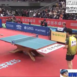 卓球全日本男子シングルス準決勝。宇田幸也4ー2吉田雅己。宇田が決勝進出!決勝は高校生対決に。