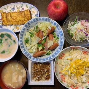 夕食は、ウィンナー・キャベツ・ピーマン炒め、納豆・ネギ。鮭・青梗菜のクリーム煮、卵焼き、白菜の柚子和え、キャベツ・紫キャベツ・大根・水菜・赤カブサラダ、白菜・油揚げの味噌汁、りんご・サンふじ。