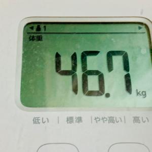 体重は、夕食前・入浴前、46.7kg。体脂肪率は、27.6%。