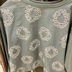 イオン内の刺繍の服を撮影。刺繍の参考に。ぶどうも秋にいい。スタンド襟のチュニックが素敵で試着。作れないかな😅