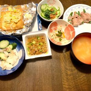 夕食は、いんげん・ポテトの豚肉巻き、厚揚げ焼き・生姜・ネギ、胡瓜・紫蘇・梅、鶏そぼろ・白菜・人参の塩だれ和え・山椒、胡瓜・大根の糠漬け・茗荷、おくら納豆、大根の味噌汁。ハムチーズ、ライム・グレープフルーツゼリー、プルーン・レモン・クコの実のコーラ漬け。