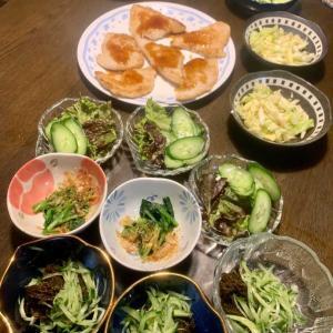 夕食は、カジキマグロフライ、キャベツの柚子ポン酢和え、サニーレタス・胡瓜、ほうれん草のおひたし、胡瓜の糠漬け、太もずく・胡瓜・生姜、しめじの味噌汁、りんご。