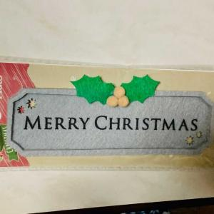 """既成のフェルトのクリスマスプレートに上から刺繍してみました。ヒイラギの葉脈、赤い実を追加。""""MERRY CHRISTMAS""""に上から刺繍、雪の結晶?😅"""