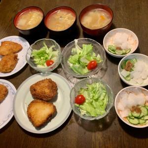 夕食は、カジキマグロ・チーズはさみ揚げ、レタス・ミニトマト、胡瓜・大根の梅和え、昨夜の塩鍋・白菜のスープ。りんご。