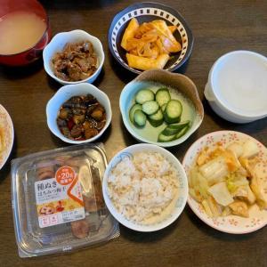 昼食は、油揚げ・白菜のうま煮、トッポキ・油揚げ・ネギ、べったら漬け、胡瓜の糠漬け、胡瓜のキューちゃん、アサリの佃煮、麦ご飯、わかめの味噌汁。