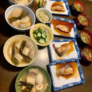 夕食は、鰤の照り焼きならぬ焼き漬け、おでん、胡瓜・人参・アボガド入りディップ、胡瓜の糠漬け、キャベツ・ウィンナーのコンソメスープ、りんご。