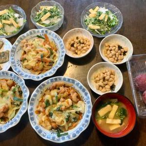 夕食は、チーズダッカルビ、チヂミ、焼き油揚げ・貝割れ・大根・サニーレタス、昆布豆、油揚げ・小松菜の味噌汁、プラム・ソルダム。