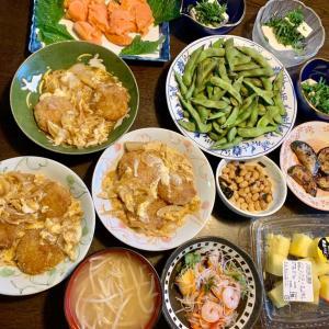 夕食は、ヒレカツ煮(玉ねぎ・卵)、生サーモン、枝豆、海老入りタイ風春雨サラダ、冷奴・紫蘇・ネギ、昆布豆、ズッキーニのソテー、もやしの味噌汁、パイン。