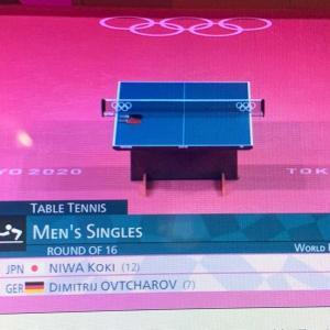 五輪卓球男子シングルス決勝トーナメント(16 強戦)   D. オフチャロフ(ドイツ) 4ー1 丹羽孝希(日本)丹羽も粘ったけど、やはりオフチャロフは1枚も2枚も上手だった・・・