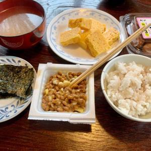 昼食は、納豆・ネギ、海苔、梅干し、卵焼き、豚汁、麦ご飯。