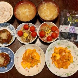 夕食は、烏賊・人参炒め、ミニトマト・春雨サラダ(胡瓜・卵・ハム・木耳)、豆腐ハンバーグ・大根おろし、キャベツの味噌汁、麦ご飯、種無し巨峰。