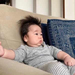 次女の赤ちゃん。ソファでおすわり(まだ傾いちゃうよ)
