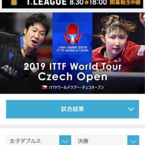 チェコOP 女子ダブルス決勝 顧玉婷/木子vs平野美宇/芝田沙季。1-3で負けてしまった。