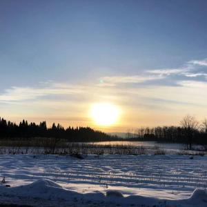 気温−8℃の澄んだ空気の中、陽が昇る。