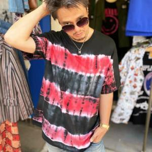 ROLLOVER×HIPPIES DYE☆タイダイTシャツ  グランジボーダー