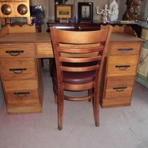 アメリカ家具 1980年代オーク 両袖デスクセット