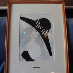 摩耶レイ  帽子の女  水彩画