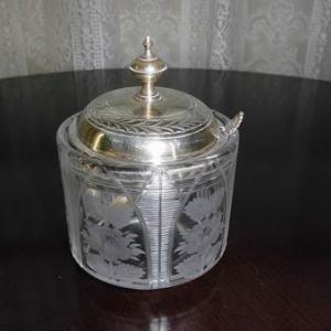 英国アンテイーク 銀製 クリスタル ジャムポット  シュガーポット