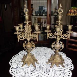 アンテイーク 真鍮製 骨董品 5灯燭台 ペアで!