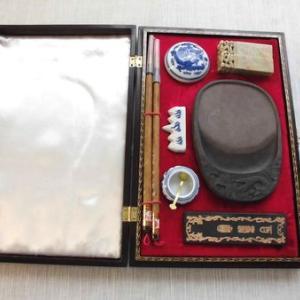 中国文具四宝 硯他 漆蒔絵 箱入り 南極星輝 未使用
