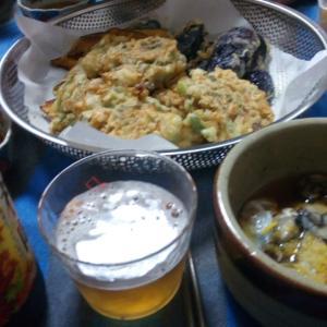 生牡蠣と天ぷらで乾杯