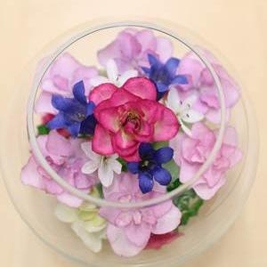 ピンクの紫陽花が可愛いボトルフラワー