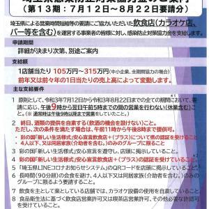 埼玉県感染防止対策協力金(第13期)について!