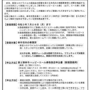 幸手市ハッピーエール券(応援商品券)取扱店を募集中!