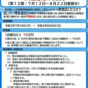埼玉県感染防止対策協力金(第13期)早期給付について!
