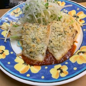 めかじきのチーズパン粉焼き バジルのトマトソース