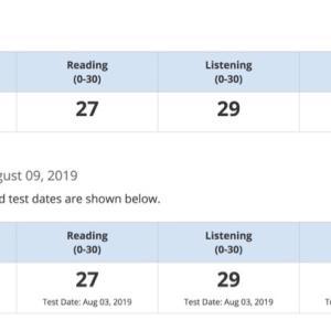 TOEFL IBT 結果(高校1年生、8月)