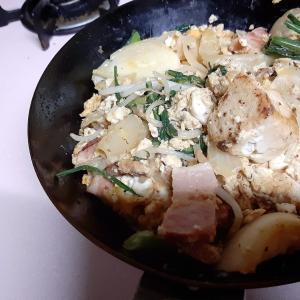 鉄フライパンで豆腐&ベーコンチャンプルー
