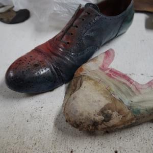マッケイ製法の靴のオールソール 裏地の部分交換
