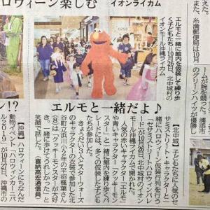 琉球新報にて「イオンライカム セサミストリートハロウィンパレード!」の事が掲載!