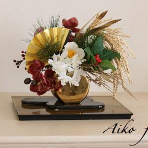 お正月用アレンジ♥花と食卓とおもてなしレッスン用