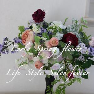 Early Spring  春を運ぶ花束デザイン♥アーティフィシャルフラワーで作りました♪