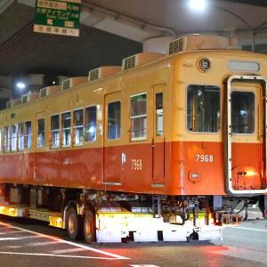 阪神武庫川線赤胴車7968形・7990形陸送@今津