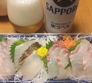 鯛のお刺身で一杯
