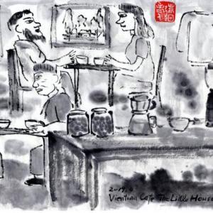 ルアンパバーン、ビエンチャン、バンコクの旅−64、ビエンチャン、「The Little House」で珈琲を買う。