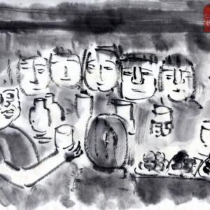 ルアンパバーン、ビエンチャン、バンコクの旅−69、夜汽車の中で宴会。