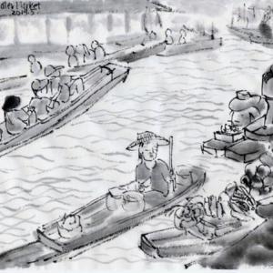 ルアンパバーン、ビエンチャン、バンコクの旅−71、ダムヌンサドゥアック水上マーケットへ。