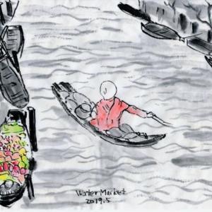 ルアンパバーン、ビエンチャン、バンコクの旅−72、水上マーケットのモノ売りたち。