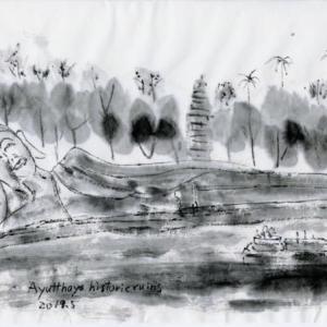 ルアンパバーン、ビエンチャン、バンコクの旅−74、アユタヤ、Wat Lokaya Sutharamで寝仏を見る。