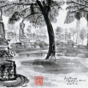 ルアンパバーン、ビエンチャン、バンコクの旅−76、木の中に仏頭、「ワット・マハタート(Wat Phra Mahathat)」。
