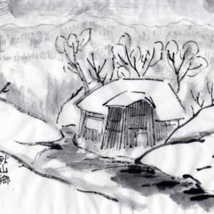 雪の新潟紀行、北越秋山郷を尋ねる旅ー15、秋山郷、小赤沢、古民家あたり。