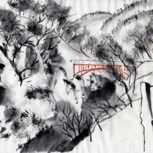 雪の新潟紀行、北越秋山郷を尋ねる旅ー16、秋山郷、白い雪の中に真っ赤な前倉橋。